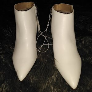 White Pointed Faux Leather Booties